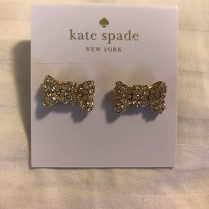 Kate Spade Gold and Crystal Bow Earrings